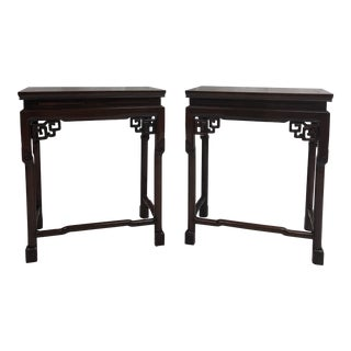 Late 19th Century Carved Polished Rosewood Side Tables - a Pair For Sale