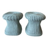 Image of Vintage Wicker Mushroom Shape Benches Stools -A Pair For Sale