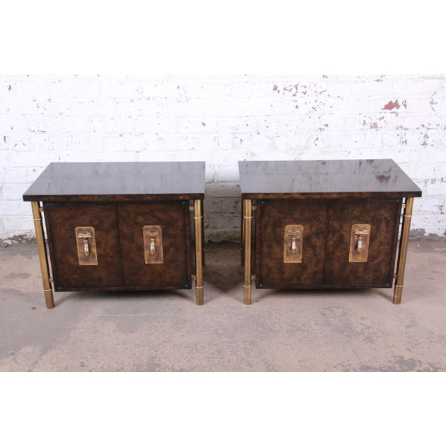 Asian Bernhard Rohne for Mastercraft Hollywood Regency Faux Bamboo Brass and Burl Bedside Chests - a Pair For Sale - Image 3 of 12