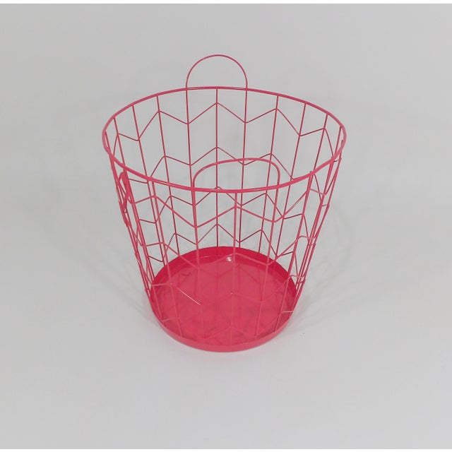 Contemporary Red Wire Metal Waste Receptacle For Sale In Sacramento - Image 6 of 6