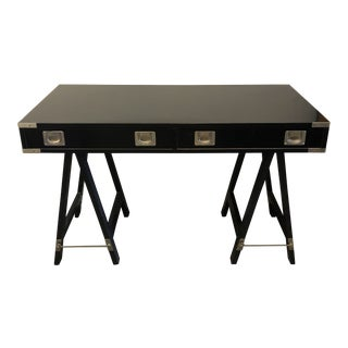 1970s Campaign Black Finish Writing Desk For Sale