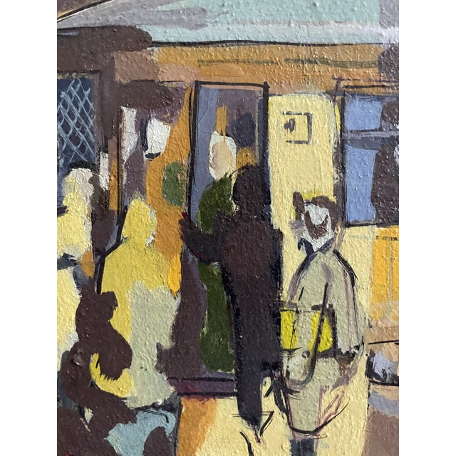 Wood 1954 Modernist Figurative Oil Painting by Louis Safer, Framed For Sale - Image 7 of 12
