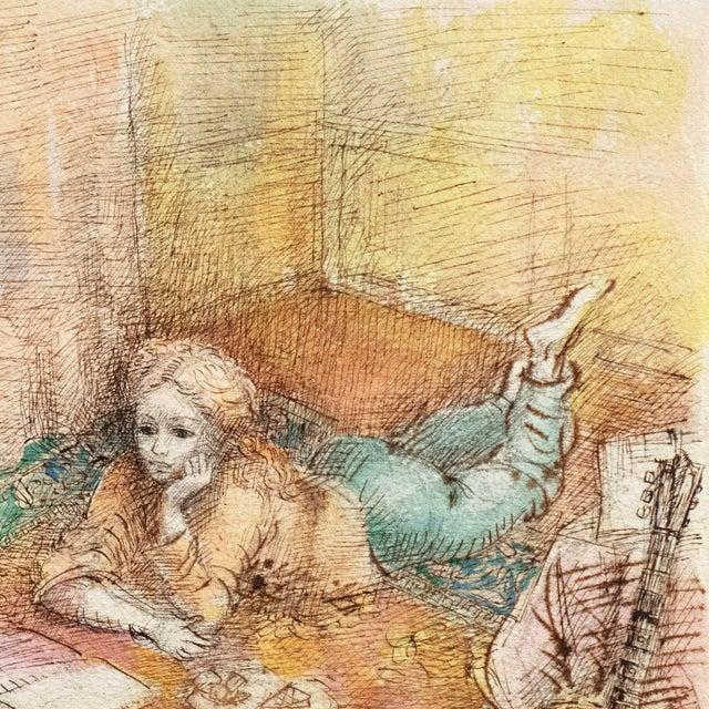Watercolor 'Jeudi à La Maison' by Lucien Philippe Moretti, French Post-Impressionist, Ecole Des Beaux-Arts For Sale - Image 7 of 10