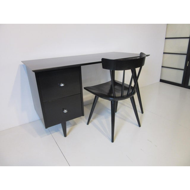 Contemporary Paul McCobb Black Maple Desk W/ Chair From the Planner Group For Sale - Image 3 of 10