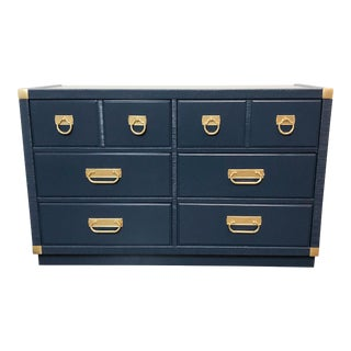 1960s English Traditional Navy Lacquer Drexel Dresser For Sale