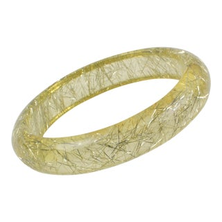 Clear Lemon Lucite Bracelet Bangle Silver Metallic Thread Inclusions For Sale