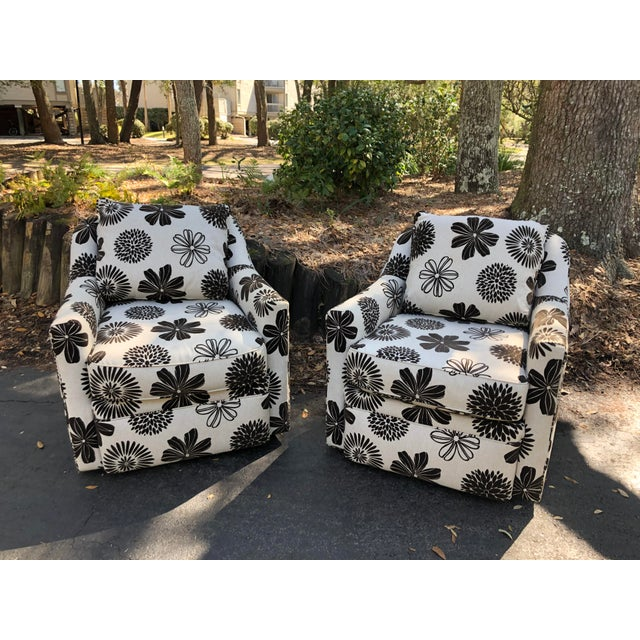 Rowe Furniture Swivel Chairs - a Pair For Sale - Image 4 of 12