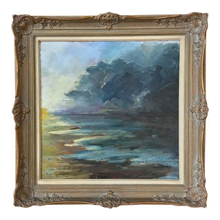 Antique Framed Landscape Oil Painting on Canvas by Miton Geirnaert For Sale