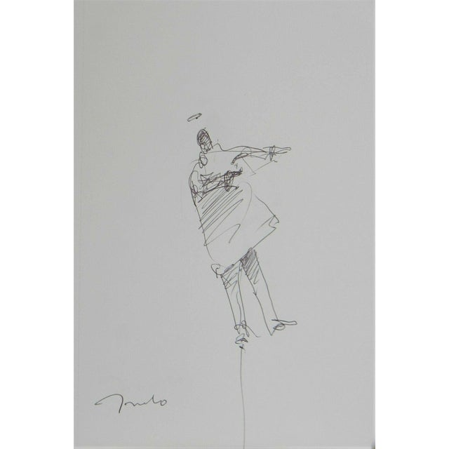 Jose Trujillo Expressionist Modern Figure Contemporary Pen Ink Drawing on Paper For Sale