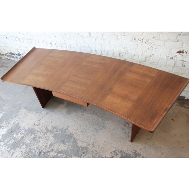 Excellent Curved Top Walnut Harvey Probber Executive Desk For Sale In South Bend - Image 6 of 14
