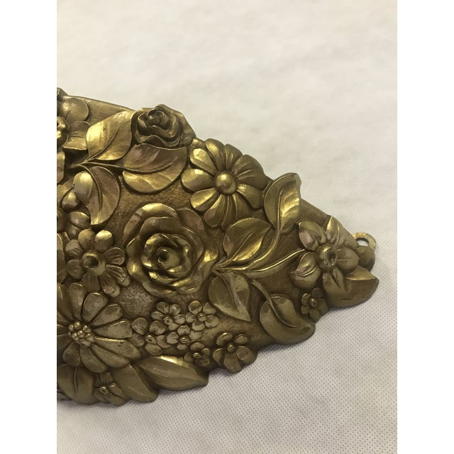1970s Vintage 1970's Syroco Inc. Gold Plastic Floral Detail Wall Pocket / Basin For Sale - Image 5 of 7