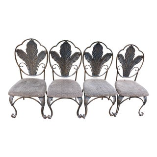 Vintage Bronze Finish Dining Chairs - Set of 4 For Sale