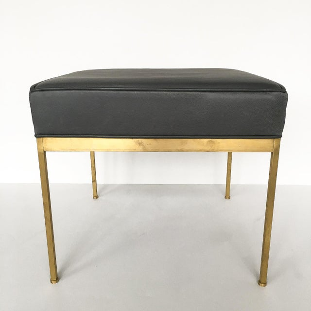 Lawson-Fenning Square Brass & Slate Gray Leather Ottomans - A Pair - Image 6 of 8