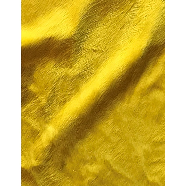 Yellow Cowhide Rug - (Large) For Sale - Image 4 of 4