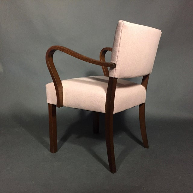 1940s Armchair in Dark Stained Oak, Felted Wool Upholstery For Sale - Image 4 of 10