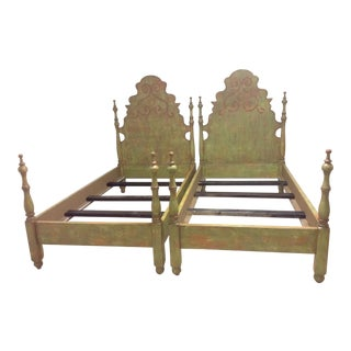 1990s Folk Art Adele Kerr Vintage Castillian Twin Beds - a Pair For Sale