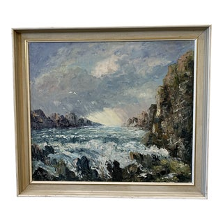 Swedish Antique Cliff and Sea Oil Painting on Canvas For Sale