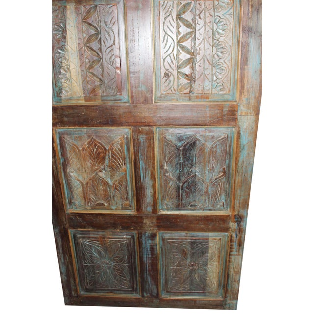 Rustic Antique Carved Wooden Door For Sale - Image 3 of 6