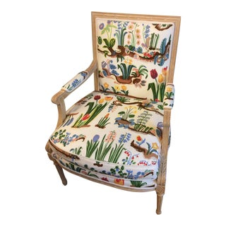 "1980s Vintage Swedish/French Bergere Style Chair/ Josef Frank ""Primavera ""Fabric For Sale"