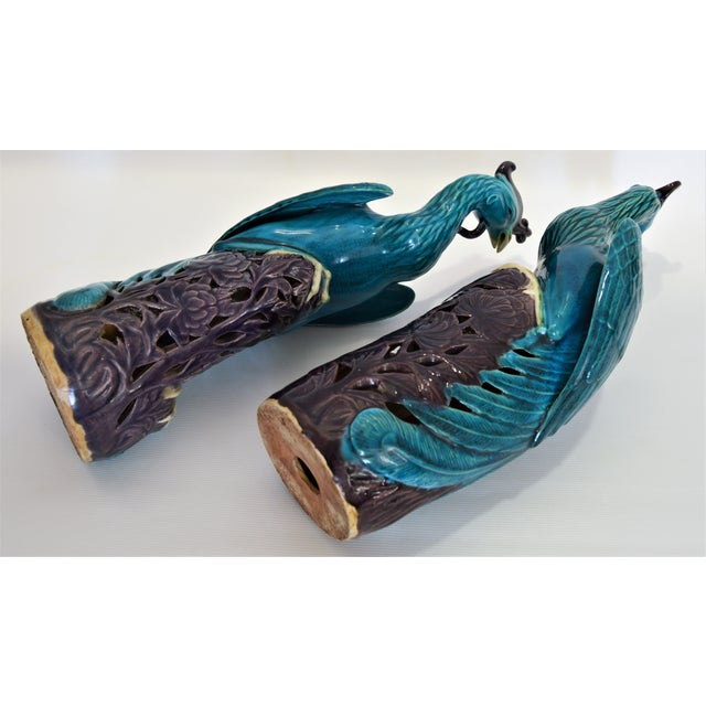 Extra Large Antique 1940s Chinese Porcelain Phoenix Bird Figurines - a Pair-Oriental Sculpture Asian Mid Century Modern Palm Beach Tropical Parrots For Sale - Image 9 of 13