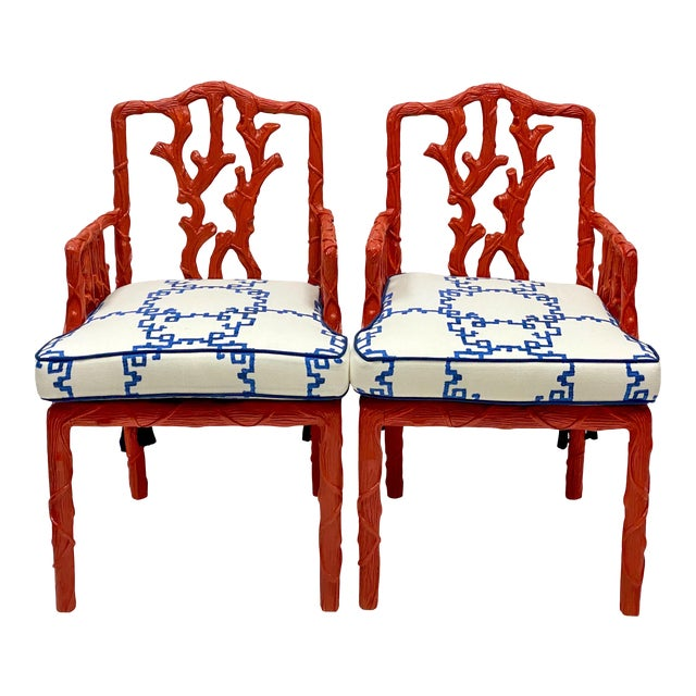 Carved Italian Red Faux Bois Jim Thompson Blue & White Linen Arm Chairs - a Pair For Sale