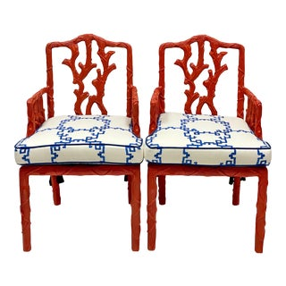 Pair of Carved Italian Faux Bois Arm Chairs With Jim Thompson Blue & White Linen For Sale