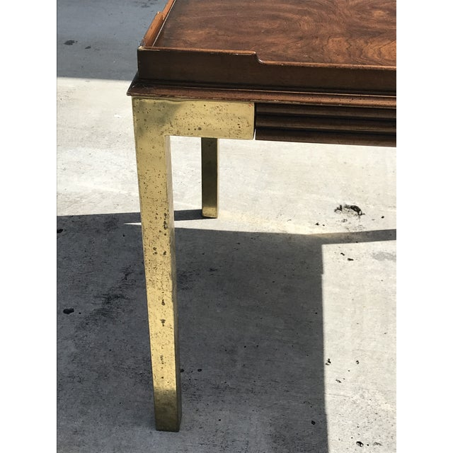 Vintage Drexel Heritage Connoisseur Burl Wood and Brass Leg Side Table For Sale - Image 9 of 12