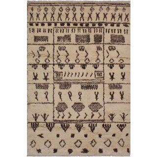Moroccan Ghislain Brown Wool Rug - 5′11″ × 9′ For Sale
