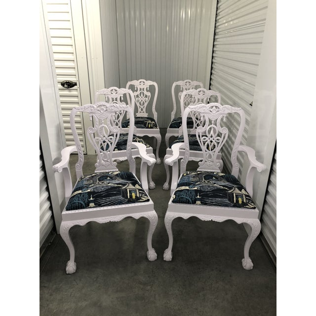 Modern Lacquered Chippendale Chairs- Set of 6 For Sale - Image 11 of 11