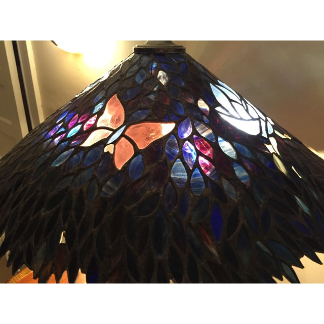 Artist Signed Butterfly Lotus Stained Glass Lamp - Image 11 of 11