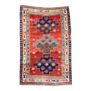"""1880s Kazak Medallion Hand-Knotted Rug - 4'11"""" X 7'10"""" For Sale"""