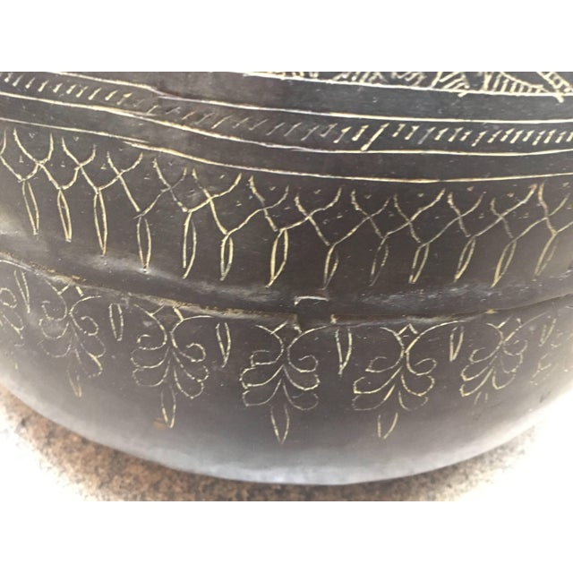 Large Indian Hand-Hammered Copper Jug With Asian Carvings For Sale - Image 12 of 13