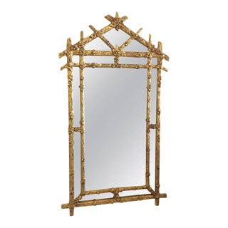 Vintage Hollywood Regency Floral Faux Bois Giltwood Wall Mirror For Sale