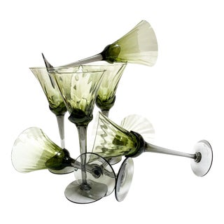 Smoky Toned Green & Gray Stemware-Set of Seven For Sale