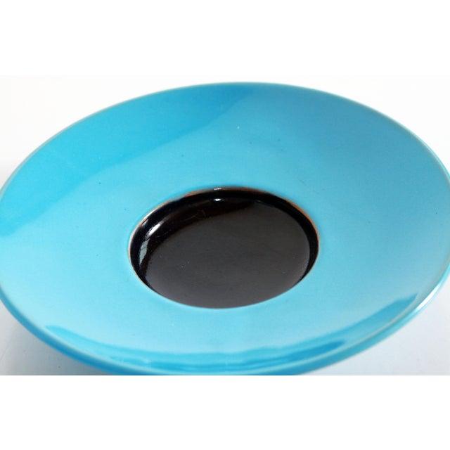 Blue Mid Century Danish Modern Bjorn Wiinblad Pottery Tea Cups & Saucers - Set of 4 For Sale - Image 9 of 10