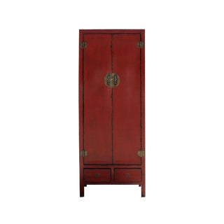 Chinese Vintage Hardware Distressed Red Tall Storage Cabinet