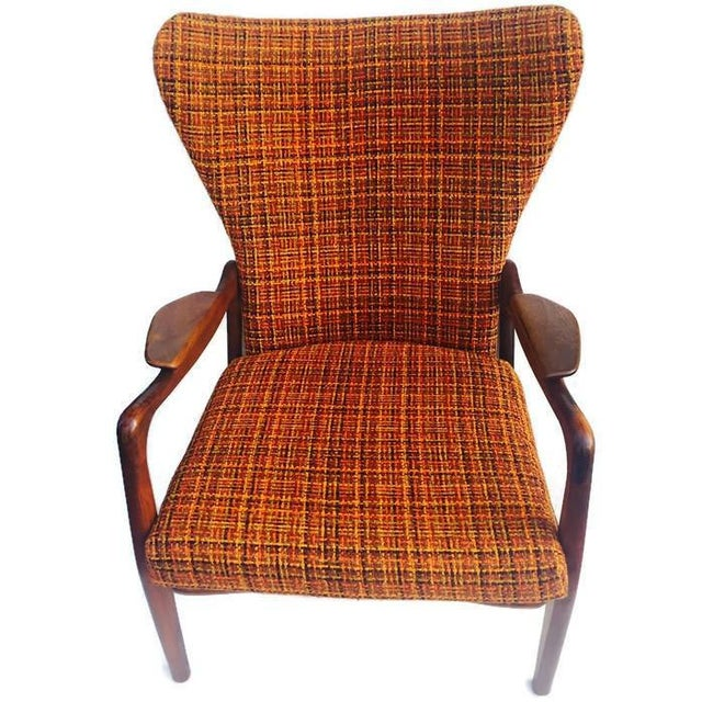 Mid Century Modern Wingback Chair Atomic Age Walnut Arm Chair All Original - Image 2 of 11