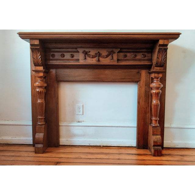 Brown Victorian Walnut Classical Revival Fireplace Mantel For Sale - Image 8 of 8