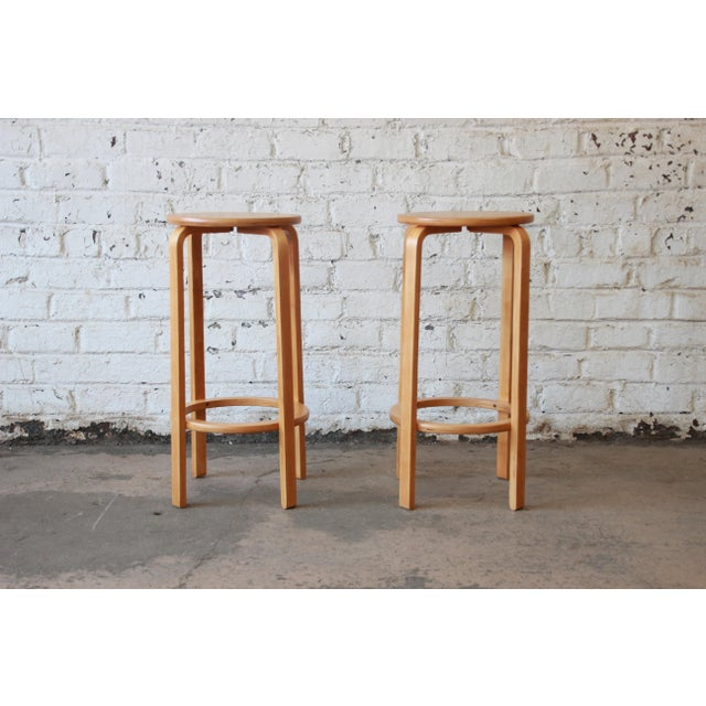 Contemporary Alvar Aalto for Artek Bentwood Bar Stools - a Pair For Sale - Image 3 of 9