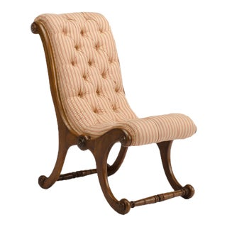 19th Century Tufted Upholstered Walnut Chair For Sale