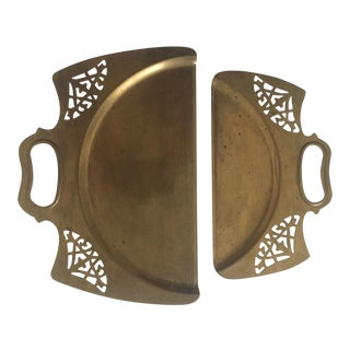 Vintage 1940's Art Deco Ornate Classical Brass Table Crumber - Set of 2 For Sale