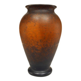French Art Nouveau Brown Speckled Glass Vase For Sale