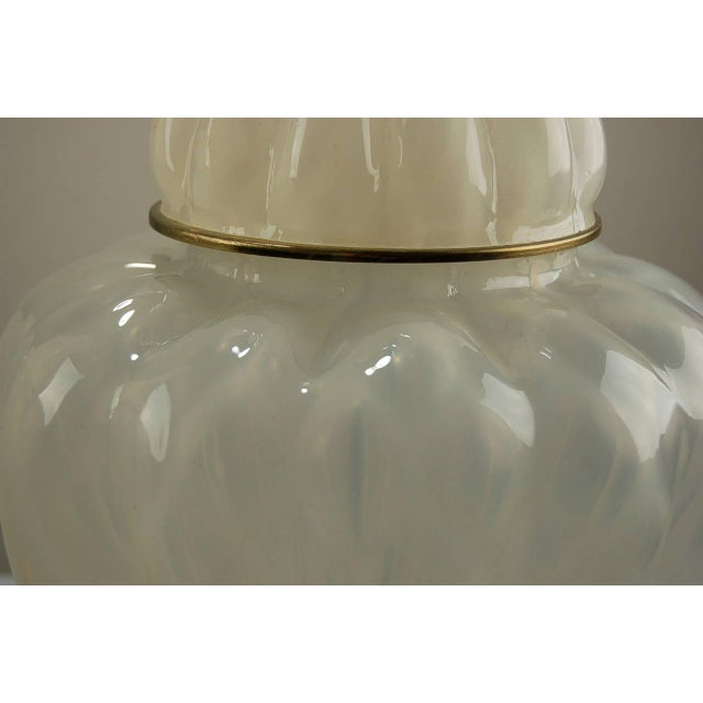 The Marbro Lamp Company Marbro Murano Opaline Glass Table Lamps White For Sale - Image 4 of 10