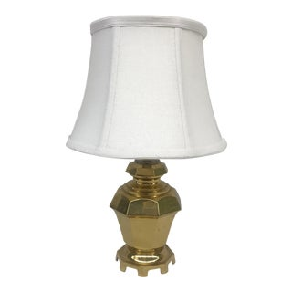 Petite Vintage Brass Lamp With White Fabric Shade