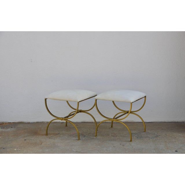 Pair of Gilt Wrought Iron and Hide Stools by Design Frères For Sale In Los Angeles - Image 6 of 7