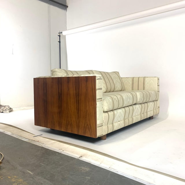 Wood Floating Milo Baughman Cased Rosewood Tuxedo Sofas / Settees-2 Available For Sale - Image 7 of 13