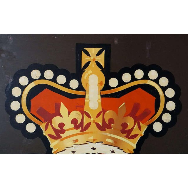 "Black Vintage English Pub Sign, ""Rose and Crown"" For Sale - Image 8 of 13"