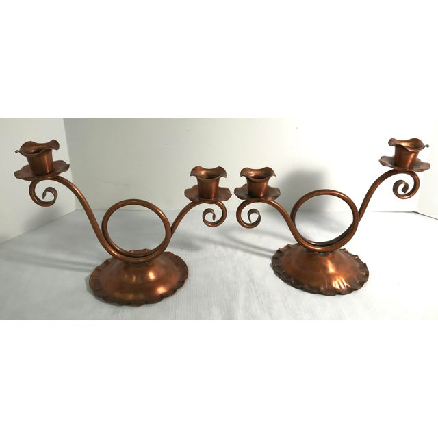 Mid 20th Century Vintage Gregorian Copper Double Candle Holders - a Pair For Sale - Image 5 of 9