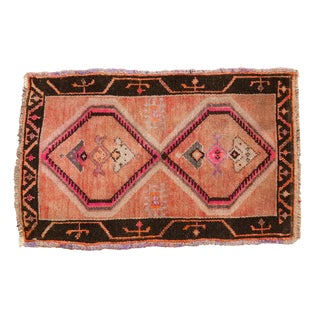 "Vintage Distressed Oushak Rug Mat - 1'9"" X 2'9"" For Sale"