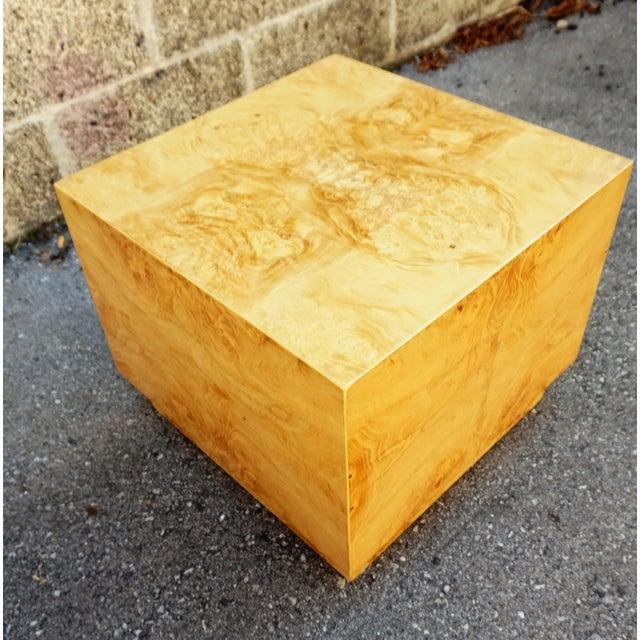 Milo Baughman Era Burled Cube Table - Image 2 of 7